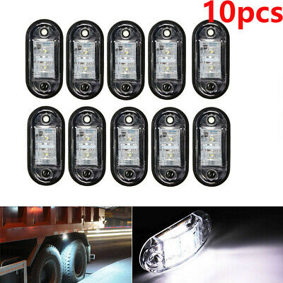 10PCS White 2 LED Light Oval Clearance Trailer Car Truck Side Marker Tail Lamp