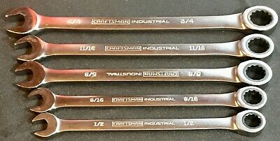 5 Pc Craftsman Industrial Sae Ratcheting Gear Type Wrenches 72 Teeth Usa Made