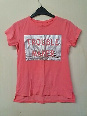 girls pink short sleeved Trouble maker t-shirt top age 11 yrs  by matalan