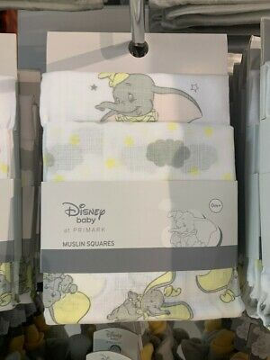 Disney Baby Dumbo Muslin Squares Cloths Primark x3