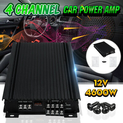 Car Audio Stereo Power Amplifier 4600 Watts 4 Channel Super Bass Subwoofer Amp