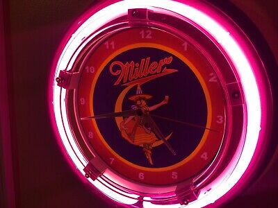 Miller High Life Girl Beer Bar Advertising Man Cave Neon Wall Clock Sign