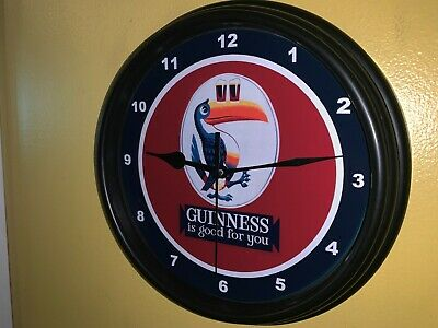 Guinness Irish Stout Toucan Beer Bar Man Cave Advertising Black Wall Clock Sign2