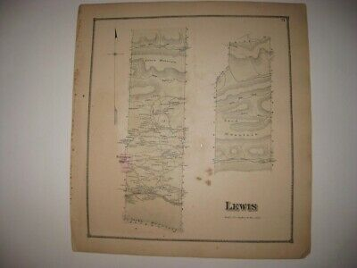 Antique 1868 Lewis Township Hartleton Union County Pennsylvania Handcolored Map