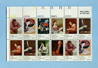Universal Postal Union SC#1530-1537 MAIL EARLY PLATE BLOCK of 12 X 10 cents 1974