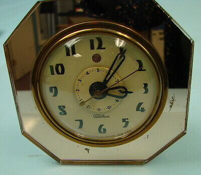 Vtg Art Deco Warren Telechron Rose Gold Mirror Electric Clock 7F77 Tested Works