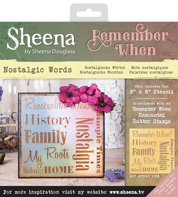 SALE New Sheena Douglass Remember When Stencil Nostalgic Words