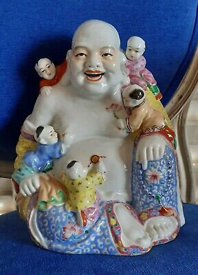 """Antique Chinese Porcelain Statue Happy Buddha With Children Marked / 8"""" Inches"""