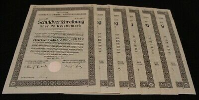 1926 German Bond Stock Certificates 11x25 Reichmark with Coupons Good Condition