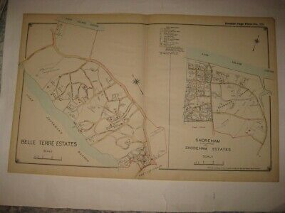 Antique 1917 Belle Terre East & Shoreham Suffolk County Long Island New York Map