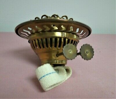 """Antique Duplex Style Brass Oil Lamp Double Burner with 4"""" Gallery/Shade Support."""