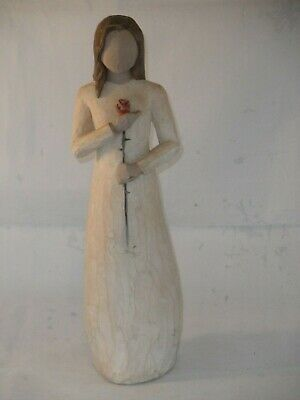 WILLOW TREE LOVE ORNAMENT FIGURE SINGLE LADY HOLDING ROSE BY SUSAN LORDI 23.5cms
