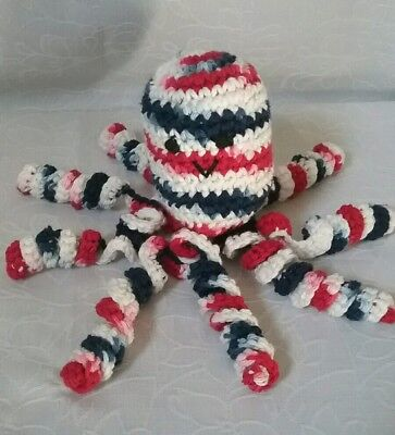 """Lil Octopus Handmade soft toy , Red, White & Blue 12"""" Long  # 12"""