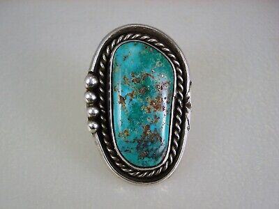 FINE OLD NAVAJO STERLING SILVER & TURQUOISE w/ PYRITE RING sz 6