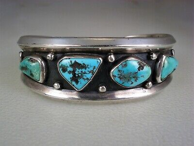 Beautiful Old Navajo Sterling Silver & 4 Kingman Turquoise Row Bracelet