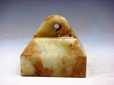 Old Nephrite Jade Stone Carved Rectangular Seal Paperweight Sculpture #04161926