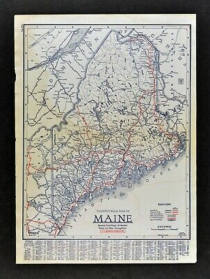 1930 Clason Road Map Maine Portland Bangor Lewiston Augusta Waterville Caribou