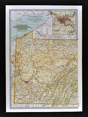 1902 Century Atlas Map - W. Pennsylvania Pittsburgh Erie Meadville State College