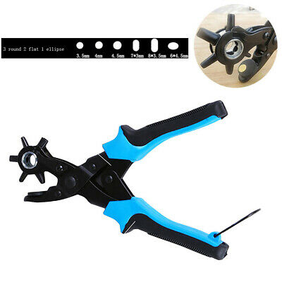 Heavy Duty Strap Leather Belt Hole Punch Hand Plier Revolving DIY Hand Made Tool