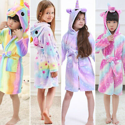 Kids Girls Boy Luxury 3D Animal Soft Short Hooded Fleece Bath Robe Dressing Gown