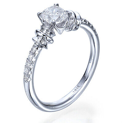 Genuine Antique 1/2 CT Colorless Diamond Engagement Ring 14K White Gold