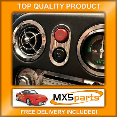 MX5 Chrome Hazard & Pop Up Light Switch Surround Mazda MX-5 Mk1 NA 1989>1998