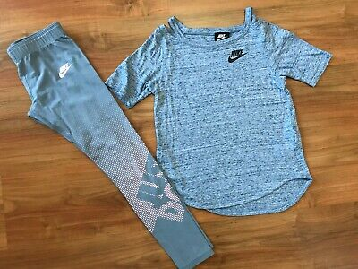 GIRLS Grey NIKE JUST DO IT DANCE / GYM LEGGINGS & T-SHIRT (age10-11) *NICE COND*