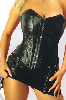 Faux Leather Corsage Corset Mini Skirt Gothic Black 36 to 54 Laundry Bags