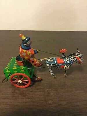Circus Clown Tin Toy Antique Wind-Up Zebra Horseman Old Rare Carrier