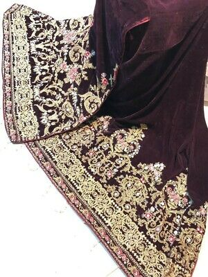 Pakistani Indian Velvet Shawl Embroidery Dupatta Sequence Heavy Borders