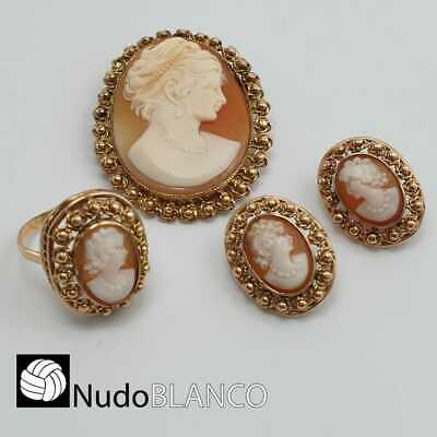 Antique Victorian Lady Cameo Set Carved Cornelian Earring Pendant Ring Gold 18K