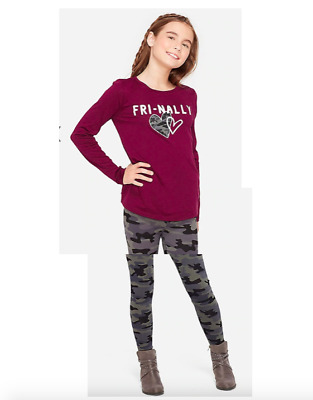 *New* Justice Girls Size 8 10 12 Fri-Nally Keyhole Top N Camo Leggings Outfit