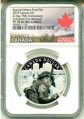 2019 Canada $1 D-Day 75th Ann Colorized Special Edition Proof Set FR NGC PF70 UC