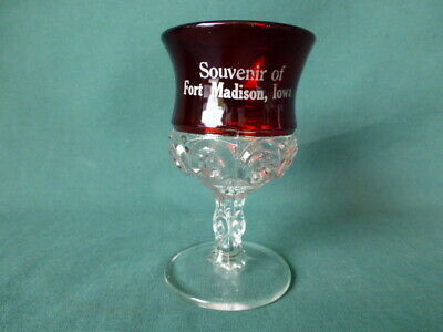 Antique Ruby Stained Early American Pattern Glass Wine Glass Fort Madison, Iowa