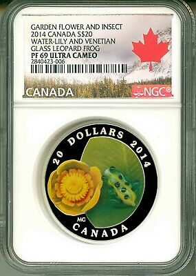 2014 Canada $20 Water Lily And Venetian Glass Leopard Frog NGC PF69 UC COA OGP