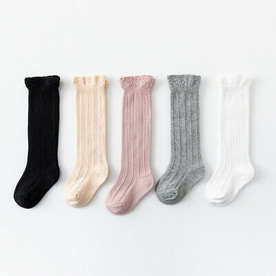 5 Pairs Baby Girls Boys Knee High Socks Tube Ruffled Stockings Anti-slip Socks