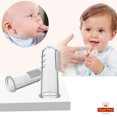 4pcs Baby FINGER SOFT Silicone TOOTHBRUSH Teether Teeth Gum Massager Infant UK