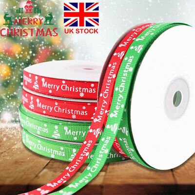 22 M Happy Merry Christmas Ribbons Snowflakes Ribbon Gifts Wrapping Home Decor