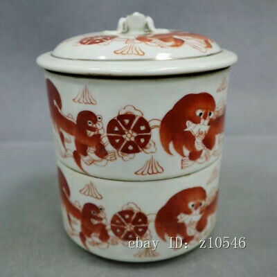 "6"" Chinese antique porcelain Pastel Lion pattern Stack box"