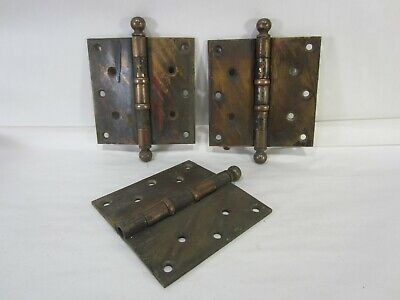 "3 Antique Stanley Sweetheart Heavy Duty 5"" Brass Door Hinges HI#91"