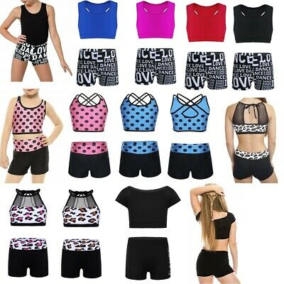 Girls Kids 2-Piece Active Set Dance Sport Outfits Top+Shorts Gym Dancing Clothes