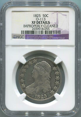 1825 Capped Bust Silver Half Dollar. O-113. NGC XF Details