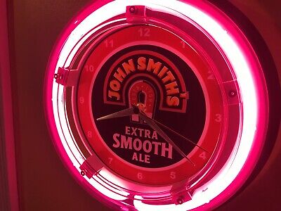 John Smith Ale Beer Bar Advertising Man Cave Neon Wall Clock Sign