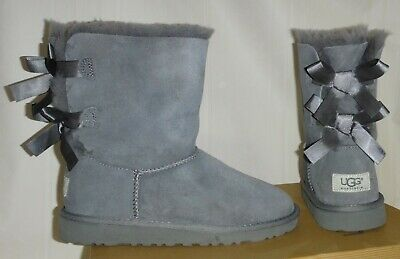 UGG AUSTRALIA BAILEY BOW Gray Suede Shearling Boots KIDS Size US 4 #3280 K, Grey