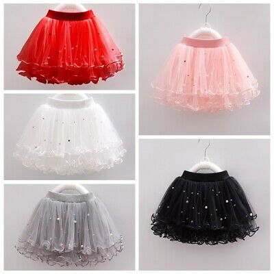 Kids Girls Beads Frill Tulle Skirt Sweet Princess Layered Tutu Ballet Party