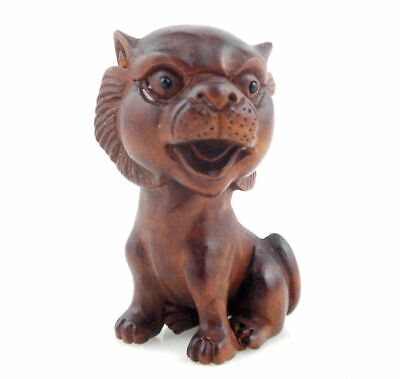 Boxwood Hand Carved Japanese Netsuke Sculpture Big Head Cat Kitty #12181902