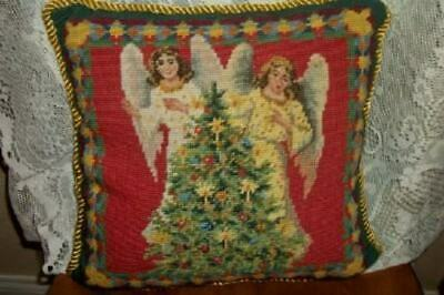 Needlepoint Petit Point Pillow Christmas Angels Tree Velvet Back