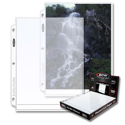 1 Box of 100 BCW 1 Pocket Album Pages 8 x 10 Photograph Document Sheet holder