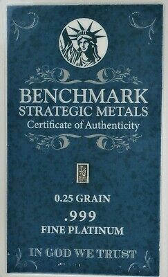 1/60 GRAM PURE PLATINUM BAR with ASSAY CARD BENCHMARK STRATEGIC METALS