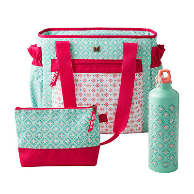 3 Piece Insulated Lunch Kit Tote Bag with Aluminum Hydration Bottle Jewel Geo